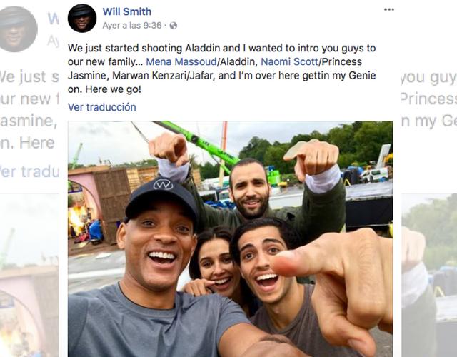Will Smith confirma que será parte de la nueva versión de 'Aladdín'