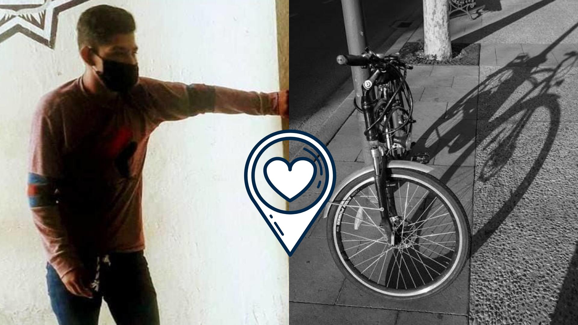 """Joven viaja en bicicleta desde CDMX a Veracruz a buscar a su """"amor"""""""