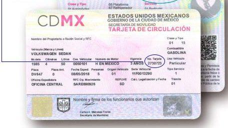 tarjeta de circulación