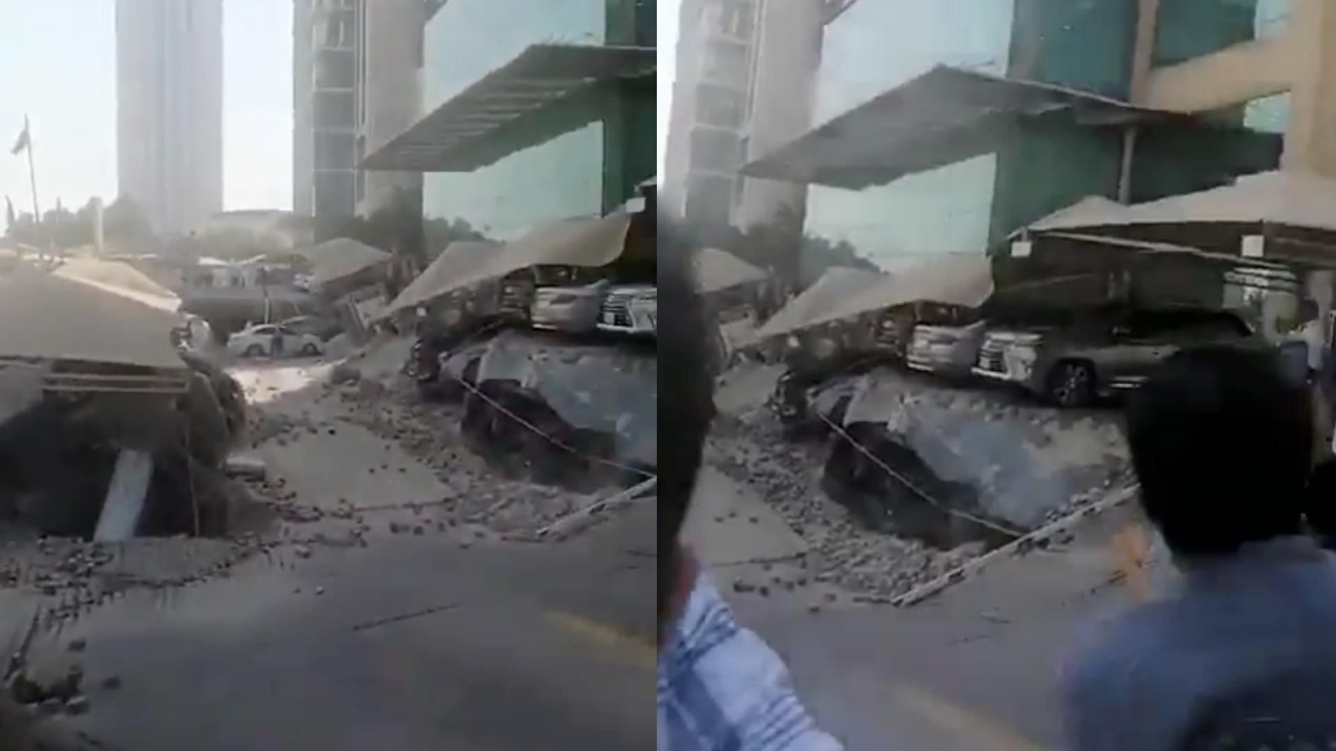 Hombre se salva de ser enterrado en un derrumbe en el centro comercial