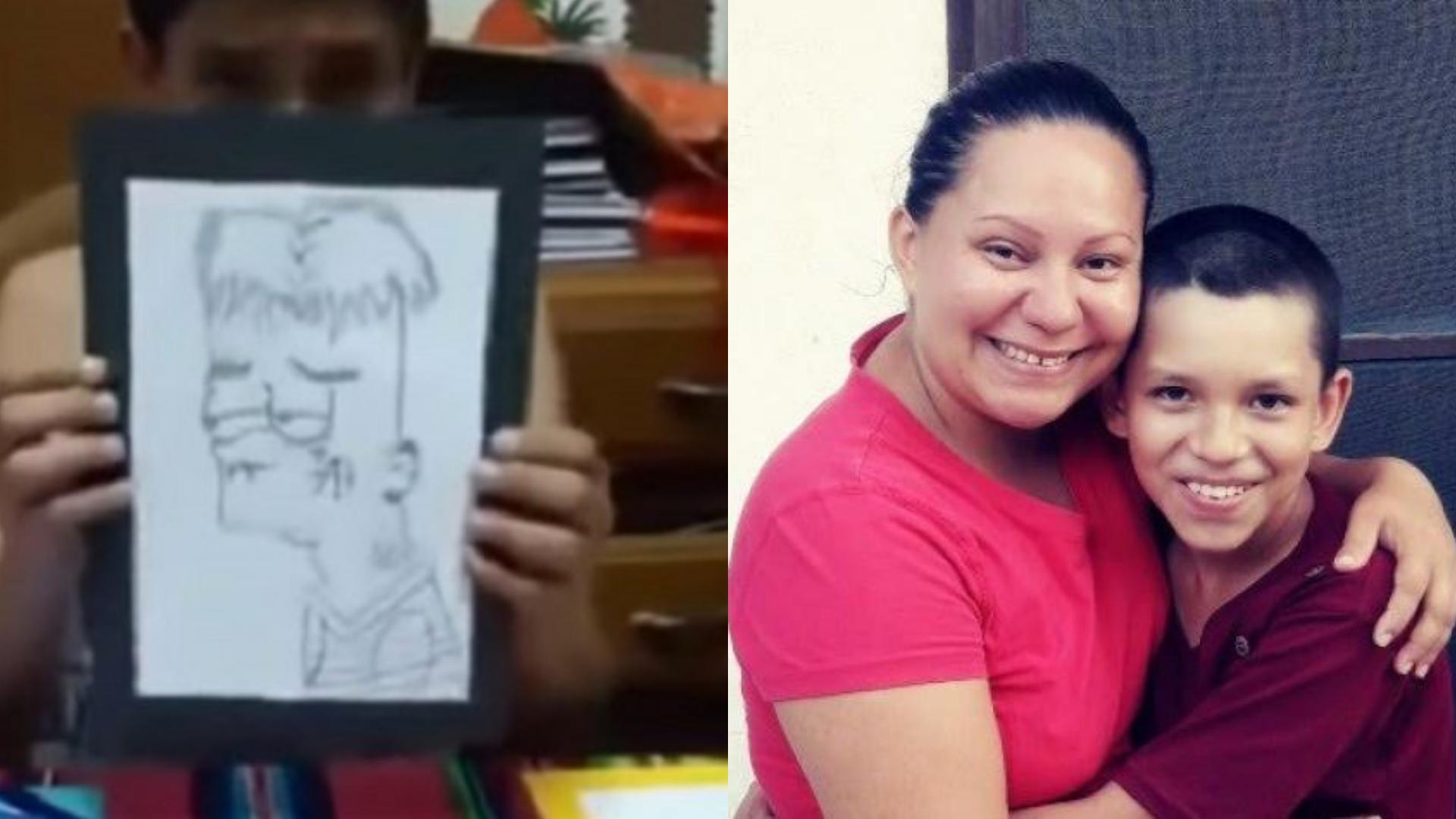 Pequeño vende dibujos para pagar la operación de su mamá
