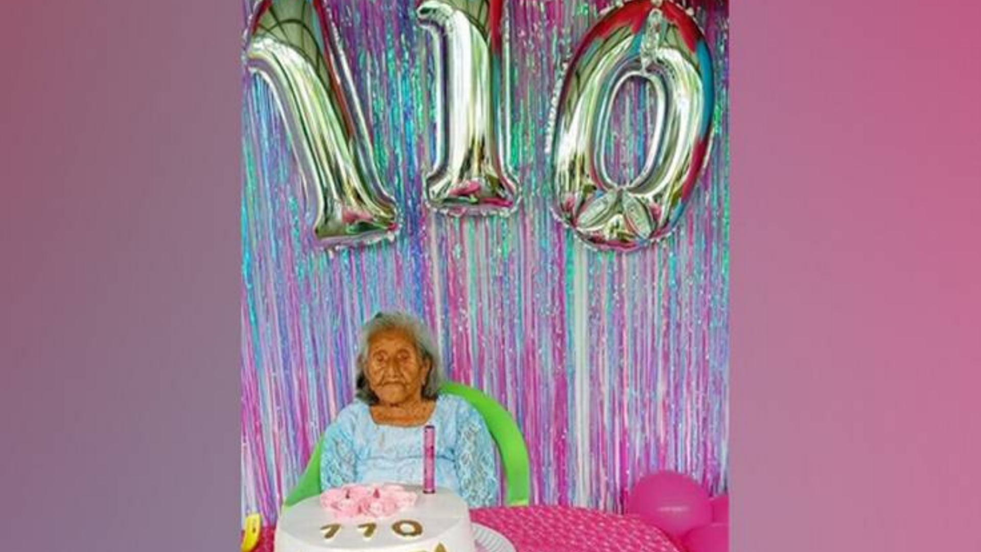 Abuelita cumple 110 años y tiene tataranietos y cuadrinietos