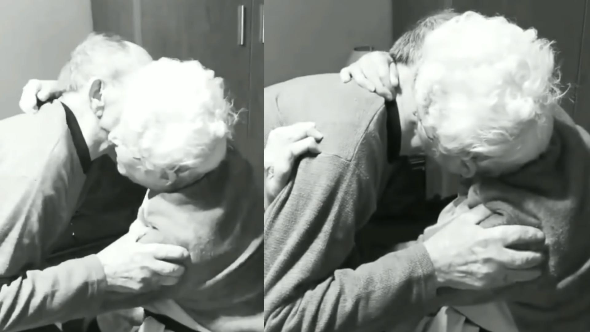 Abuelitos se reencuentran tras varias semanas sin verse y cumplir 66 años juntos