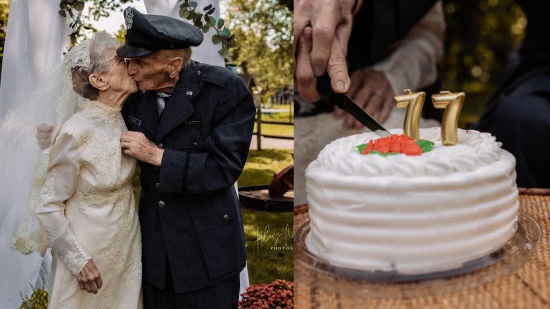 Abuelitos cumplen 77 años juntos y hacen la boda de sus sueños